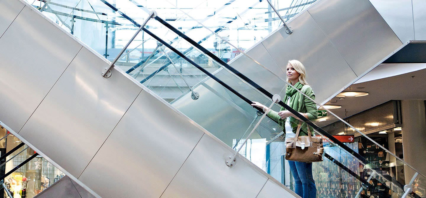 KONE modular escalator modernization solutions in Kamppi retail centre.